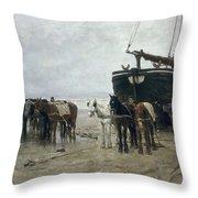 Boat On The Beach At Scheveningen Throw Pillow by Anton Mauve