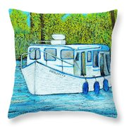 Boat On The River Throw Pillow