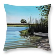 Boat On The Shadowed Beach Throw Pillow