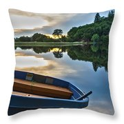 Boat On The Shore Of A Lake  Throw Pillow