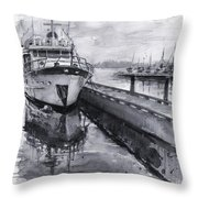 Boat On Waterfront Marina Kirkland Washington Throw Pillow
