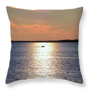 Boat Passing By Throw Pillow