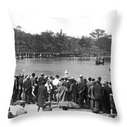 Boat Races In Central Park Throw Pillow