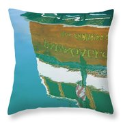 Boat Reflection In Water  Throw Pillow