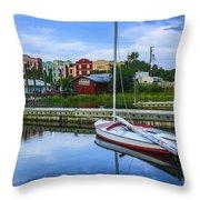 Boat Reflections Of Fernandina Beach Throw Pillow