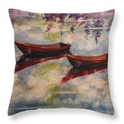 Boat Reflections Watercolor Painting Throw Pillow