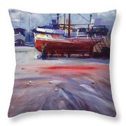 Boat Reparing Throw Pillow