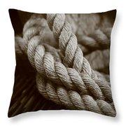 Boat Rope Sepia Tone Throw Pillow