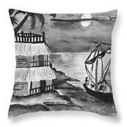 Boat Sailing In Moon Light Throw Pillow