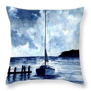 Boat Scene - Blue Sky Throw Pillow