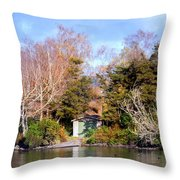 Boat Shed On The Waikato River Throw Pillow