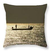Boat Silhouette In Sunrise At Marina Beach, Chennai Throw Pillow