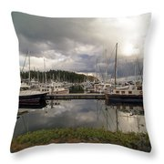 Boat Slips At Anacortes Marina In Washington State Throw Pillow