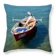 Boat Small Rovinj Croatia Throw Pillow