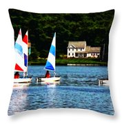 Boat - Striped Sails Throw Pillow