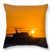 Boat Sunset Silhouette Throw Pillow