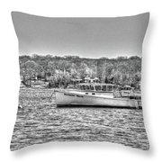 Lobster Boat Mount Sinai Harbor Li.ny Throw Pillow