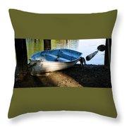 Boat Under The Bridge Throw Pillow