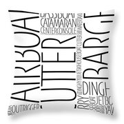 Boat Word Art Throw Pillow