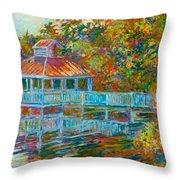 Boathouse At Mountain Lake Throw Pillow
