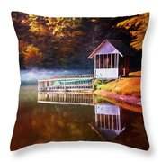 Boathouse In Autumn Oil Painting Throw Pillow