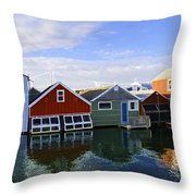 Boathouse Reflections Throw Pillow