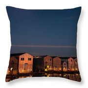 Boathouse Reflections With Moonset Throw Pillow