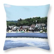 Boathouse Row 2 - Palette Knife Throw Pillow