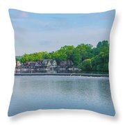 Boathouse Row From Mlk Drive - Philadelphia Throw Pillow