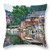 Boathouse Row In Philadelphia Throw Pillow