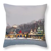 Boathouse Row On A Winter Morning Throw Pillow