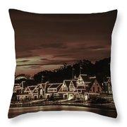 Boathouse Row Philadelphia Pa Night Retro Throw Pillow