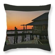 Boathouse Sunset Throw Pillow