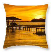 Boathouse Sunset Throw Pillow