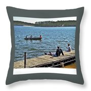 Boating And Sitting On The Dock Throw Pillow