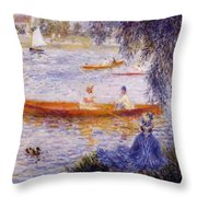 Boating At Argenteuil 1873 Throw Pillow