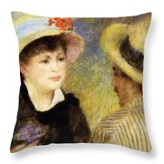 Boating Couple Aline Charigot And Renoir 1881 Throw Pillow