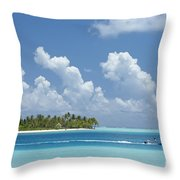 Boating In A Tahitian Lagoon Throw Pillow