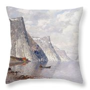 Boating On A Norwegian Fjord Throw Pillow
