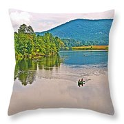 Boating On Connecticut River Between Vermont And New Hampshire Throw Pillow