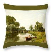 Boating On The Stour Throw Pillow