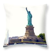 Boating With Liberty Throw Pillow