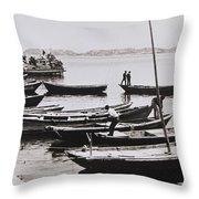 Boatmen Throw Pillow