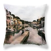 Boats Anchored Throw Pillow