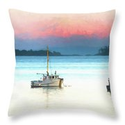 Boats Anchored With Mount Baker, Washington In Background Throw Pillow