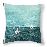 Boats And Birds Throw Pillow