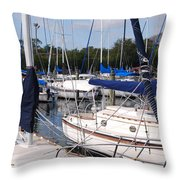 Boats And Boats Throw Pillow