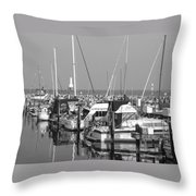 Boats And Reflections B-w Throw Pillow