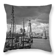 Boats And Shard And Tower Bridge Bw Throw Pillow