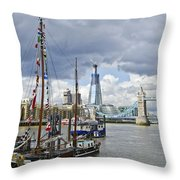 Boats And Shard And Tower Bridge Throw Pillow